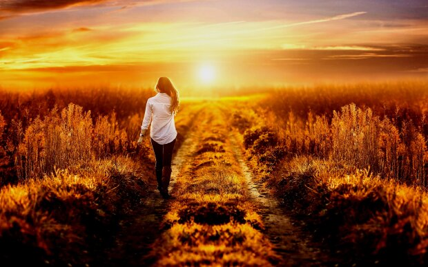 закат, солнце, девушка