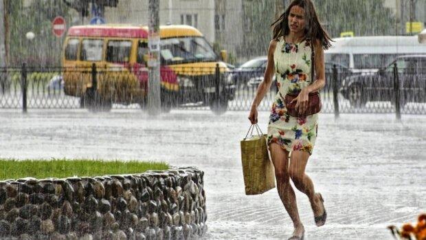 погода, дождь, лужи, ливень, девушка