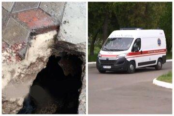 НП на зупинці: жінка провалилася під землю, на допомогу кинулися перехожі