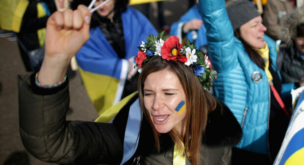 Demonstrators Rally Against Russia's Aggression In Ukraine