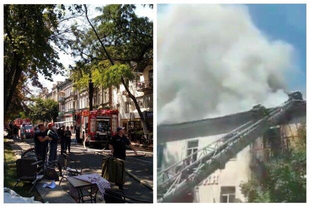 Пожар уничтожил крышу дома в центре Одессы: последствия показали с высоты