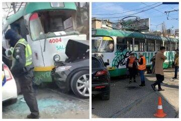"""Трамвай зім'яв елітну іномарку в Одесі, відео: """"вирішив не пропускати"""""""