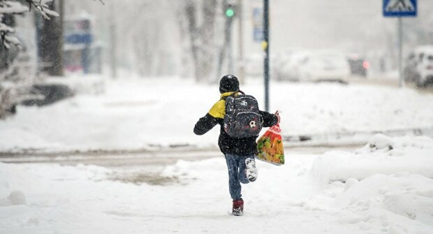 ребенок снег зима