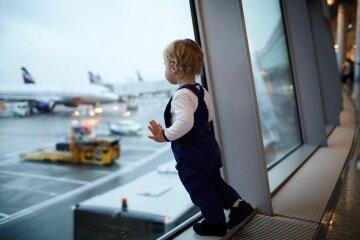аэропорт, самолет, ребенок