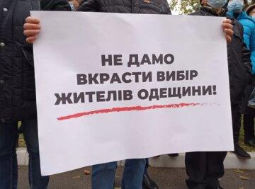 """Партія """"Наш край"""" провела акцію протесту під Апеляційним адмінсудом в Одесі: подробиці і фото"""