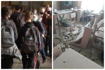 ЧП в украинской гимназии: потолок упал на парты учеников, кадры разрушений