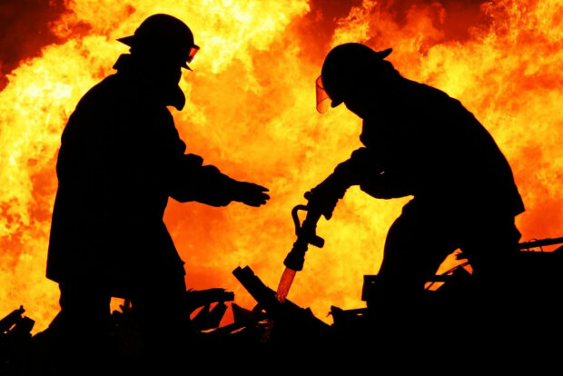пожарные, огонь, пламя, пожар