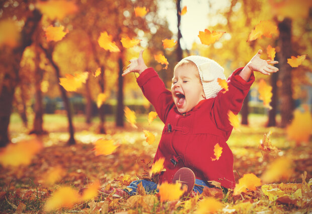 осень, ребенок, радость, счастье