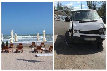 Микроавтобус попал в аварию возле одесского пляжа: кадры с места аварии