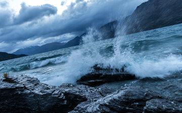 море шторм буря океан
