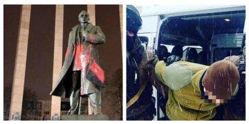"""Во Львове вандалы поглумились над памятником Бандере, кадры: """"юношам светит до 7 лет"""""""