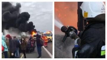 Огненное ЧП под столицей, автобус превратился в факел: «вез 44 украинца», кадры
