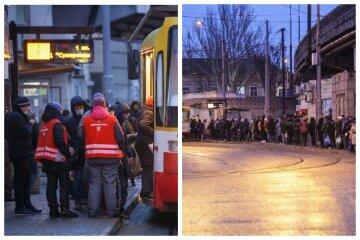Гігантські черги вишикувалися на зупинках, без конфліктів не обходиться: кадри колапсу в Одесі