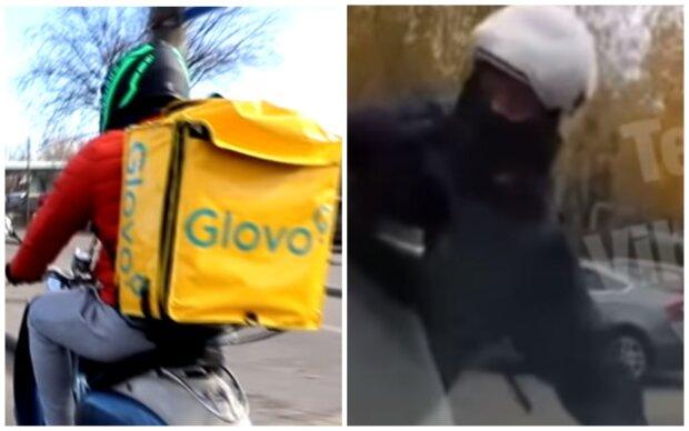 """Курьеры Glovo избили водителя на оживленной дороге, кадры нападения попали в Сеть: """"Причиной стало..."""""""