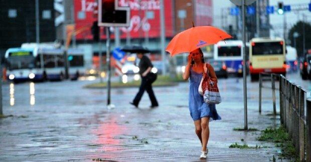 погода, дождь, лужи, зонт, девушка