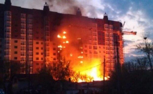 пожар, многоэтажка, высотка, огонь