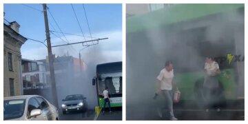 """Новый троллейбус загорелся на ходу, кадры ЧП: """"Главное чтобы живы были"""""""
