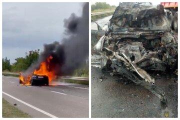 Трагическая авария на трассе Киев-Одесса, от  удара авто вспыхнуло: кадры с места
