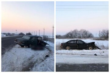 """Трагічна аварія на засніженій трасі під Одесою, фото: """"не пропустив іномарку"""""""