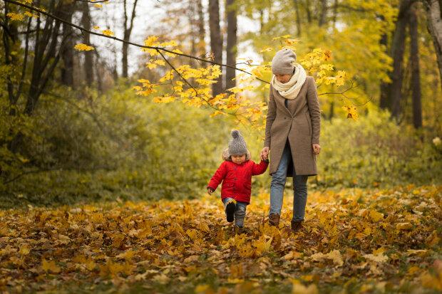 погода, осень, парк, мама, ребенок