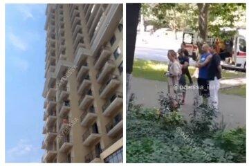 """В Одессе мужчина под """"веществами"""" вышел из окна на 7-м этаже: кадры трагедии"""