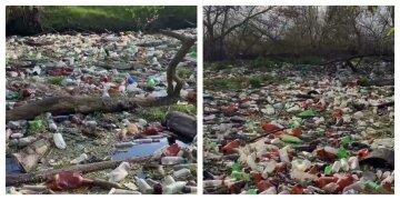"""Тонни сміття приховали річку під Харковом, фото: """"накопичилося на кілька вантажівок"""""""