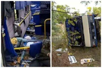 Автобус с пассажирами съехал в кювет, внутри были дети: фото ДТП под Запорожьем