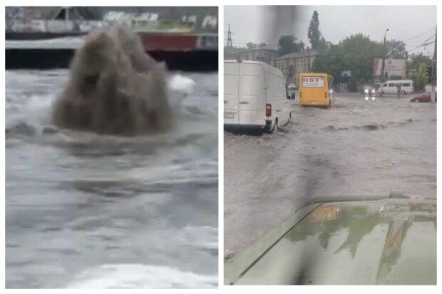 З'явилися кадри погодного колапсу в Одесі: вулиці перекриті, забили фонтани бруду